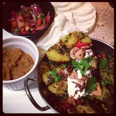 Homemade Sag Aloo, Papadums, Aubergine Relish & Onion/Tomato Salad Manchester Food, Tomato Salad, A Food, Onion, Beef, Restaurant, Homemade, Dishes, Recipes