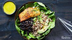 Salmon Bowl with Farro, Black Beans and Tahini Dressing