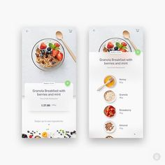 Natural AI Food by — The concept of food app. Screen with recip Flat Web Design, Food Graphic Design, App Ui Design, Interface Design, User Interface, Design Design, Ui Design Mobile, Mobile Ui Patterns, App Design Inspiration