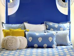 Love this blue bed!!