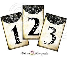 Black Doily Table Numbers Wedding Decoration Vintage Style diy printable file Whimsical Elegant Rustic Wedding 1 to 20. $14.00, via Etsy.