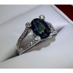 GIA Certified 18 kt White Gold 2.82 tcw Oval Cut Blue Sapphire and Diamond Ring