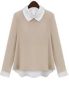 Vintage Color Matching Long-sleeved Chiffon Shirt Beige And Whiite
