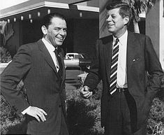 Frank Sinatra with then-U.S. Senator John F. Kennedy outside of The Sands hotel in Las Vegas, NV, Feb 1960, when Kennedy stayed there during a campaign swing.