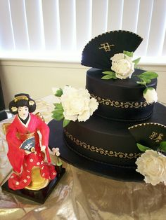Asian themed show cake with gumpaste Geisha.