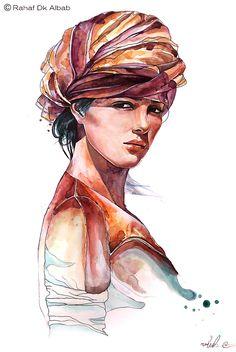 ARAB WOMEN PORTRAIT - Drawing #Fashion #Illustration