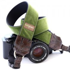 Beautiful Hunter Green Velvet DSLR Camera Strap