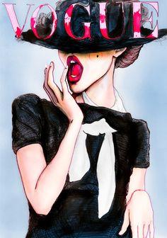 Peinture inspirée par Vogue Allemagne Mars 2010 - Couverture avec Frida Gustavsson photographiée par Greg Kadel.