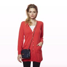 Charlotte Long Cardi Red Winter Collection, Cashmere, Charlotte, Blazer, Red, Jackets, Shopping, Women, Fashion