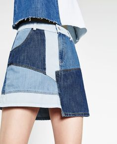 Image 6 of DENIM PATCHWORK SKIRT from Zara