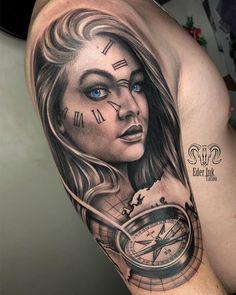Tatuagem no estilo preto e cinza criada pelo artista brasileiro Eder Ink de Franca, SP. Clique para saber mais sobre esse tatuador e ver outras tatuagens.    #tattoo #tatuagem #pretoecinza #realismo #blackandgray Wing Tattoos On Back, Lion Head Tattoos, Neck Tattoo For Guys, Hand Tattoos, Tatoos, Forearm Band Tattoos, Arm Sleeve Tattoos, Tattoo Sleeve Designs, Gangster Tattoos