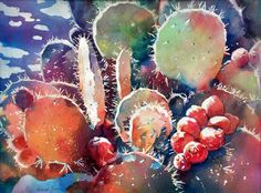 "Watercolor by Deborah Swan-McDonald  ""Cactus Festival II"""