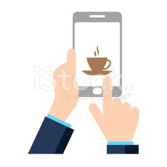 Hands holding a smart phone - VECTOR royalty-free stock vector art - By George Manga