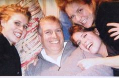 A rare family photo of the Duke and Duchess of York and their daughters, Princesses Beatrice and Eugenie.