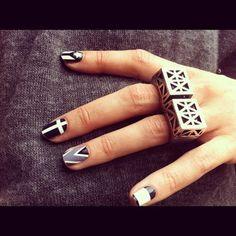 Beauty Inspiration | Black & White Nails + Grey #manicure #pmtscostamesa #paulmitchell