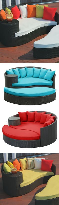 Outdoor day bed with ottoman
