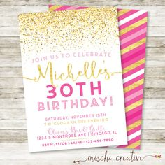 30th Birthday Invitation  Sparkle Birthday Party by MischiCreative