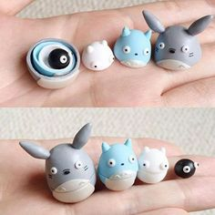 Miniature Totoro nesting dolls made by PolymomoTea #ShutUpAndTakeMyMoney #totoro my neighbor totoro #NestingDolls kawaii soot sprite, studio ghibli,made from polymer clay | matryoshka doll adorable cute miyazaki | geek stuff