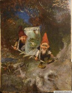 HEINRICH SCHLITT 1849-1923 GNOMES TRANSPORTING FROG PAINTING ZWERGE MIT FROSCH