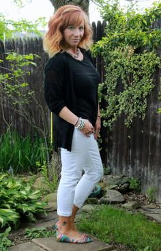 Fashion Fairy Dust black tee, black cardigan, white boyfriend jeans, statement necklace, and multicolored flats