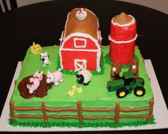 Farm cake.. this is cute too.. except for the silo.. ahem