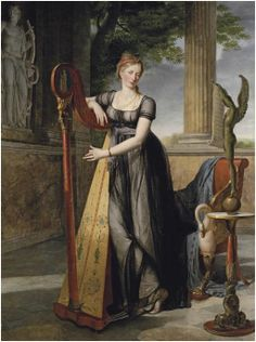 View Portrait of Marie-Denise Smits, née Gandolphe in a black dress, playing a harp in an interior by Antoine Jean Joseph Ansiaux on artnet. Browse upcoming and past auction lots by Antoine Jean Joseph Ansiaux. Regency Dress, Regency Era, 19th Century Fashion, 18th Century, Empire Style, Historical Costume, Historical Clothing, Jane Austen, Art History