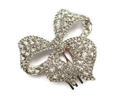Sparkly! Bow Design Hair Comb Slide Crystal Diamante in Silver Tone Bridal Prom