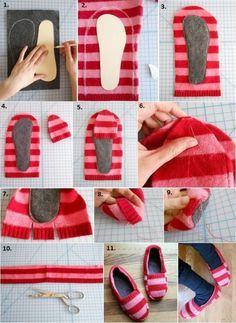 Sweater Slippers DIY Super Easy Video Instructions Pullover Hausschuhe DIY Wie Upcycle Old Jumpers Sewing Hacks, Sewing Tutorials, Sewing Crafts, Sewing Projects, Sewing Patterns, Sweater Mittens, Old Sweater, Knitting Sweaters, Loose Sweater