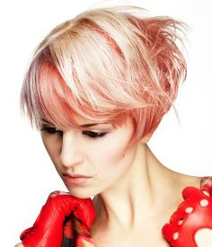 Platinum Short Bob with Pale Red Tone and side swept fringe