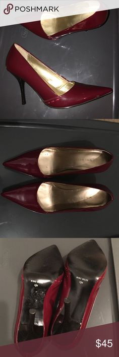 "Nine West Ruby Red Patent Leather Pumps Size 8 1/2 Nine West Ruby Red Patent Pumps Size 8 1/2- Excellent Condition -3 1/2"" heel- Leather Nine West Shoes Heels"