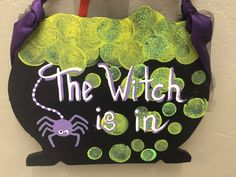 """The witch is in"" sign made by adults with special needs."