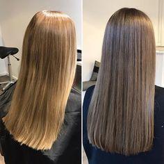 Recept: botten: IC 7/, lite 7/81 lite 6/16. Längder: 7/ och lite 7/31. Allt med 1,9% #novembersalongen #frisörängelholm #beforeandafter #föreefter #illuminacolor #illumina #longhair #brunette #brownhair #ashbrown #wella #wellahair #shinyhair #lightbrownhair