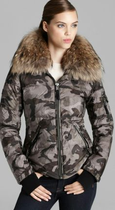 Down Jacket - Camo Freestyle Fur Collar Women - Contemporary - Bloomingdale's Fur Collars, Military Fashion, Camo, Fur Coat, Bomber Jacket, Winter Jackets, My Style, Stuff To Buy, Shopping