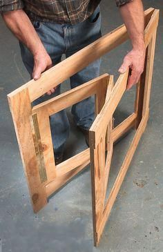 Hinged Frames Give Broad-Based Support - Woodworking Shop - American Woodworker. Use this idea but taller for sign drying rack Woodworking School, Woodworking Workshop, Easy Woodworking Projects, Fine Woodworking, Wood Projects, Woodworking Chisels, Woodworking Classes, Woodworking Videos, Do It Yourself Furniture