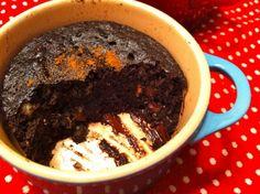 5-Minute Chocolate MugCake (variation using banana, almond butter, and honey)