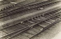 Eli Lotar  1905 – Paris – 1969  Chemins de fer (Railway tracks). Circa 1927/32 Vintage. Gelatin silver print. 14,5 × 22,6 cm (5 ¾ × 8 ⅞ in.) On the reverse the photographer's copyright stamp.