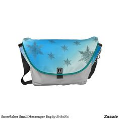 FrozenSnowflakes Small Rickshaw Messenger Bag. Water resistant, extra durable. Interior and binding 20 color options.