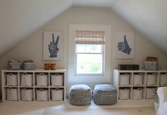 Attic Playroom with Toy Storage baskets