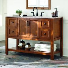 Home Decorators Collection Catalina 48 in. Vanity in Amber with Stone Effects Vanity top in Sienna-CA48P2COM-A at The Home Depot