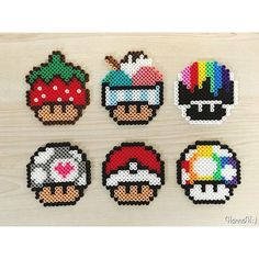Mario mushrooms perler beads by hannah