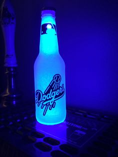 Blue MLB Los Angeles Dodgers Baseball 12 oz Beer Bottle Light LED Neon Bar Pub #LosAngelesDodgers