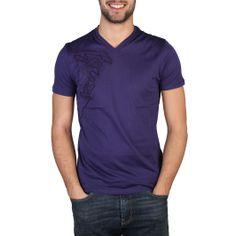 Versace - T-Shirt Scollo V - VIOLA SCURO - 100% CO - LAVARE A 30C