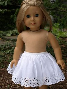 "Just use a wide piece or eyelet lace and some elastic...minutes to make! Pretty American Girl 18"" Doll slip or skirt."