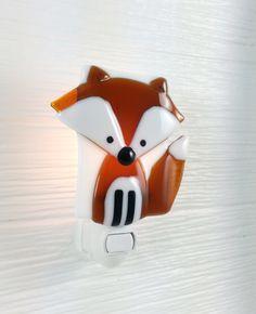 Nightlight fox open eyes fused glass forest friend door VeilleSurToi