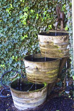 Barrel Water Fountain   http://photographybyyu.zenfolio.com/   #cannon #wine #vineyard #water #fountain #home #backyard #DIY
