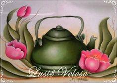 Pintura: Lusiê Veloso. Tole Painting, Folk Art, Tea Pots, Drawings, Flowers, Projects, Crafts, Vintage, Craft Ideas
