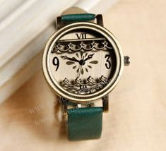 Retro style watch, leather watch for women, 3D flower charm wrist watch, lady watch,girlfriend gift, Christmas gift-N2096
