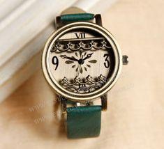 Retro style watch, leather watch for women, 3D flower charm wrist watch, lady watch,girlfriend gift, Christmas gift-N2096