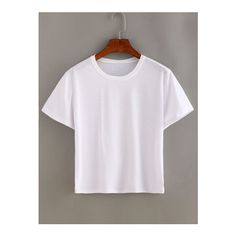 SheIn(sheinside) Plain White Short Sleeve T-shirt ($6.99) ❤ liked on Polyvore featuring tops, t-shirts, white, short sleeve tee, white short sleeve t shirt, short sleeve tops, sleeve t shirt and white short sleeve top