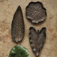 Decorative Cast Iron Leaf Dish, Set of 3